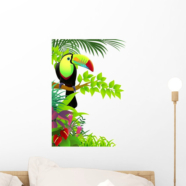 Wallmonkeys Toucan Bird in The Jungle Wall Decal Peel and Stick Graphic