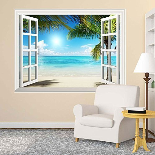 wall26 White Sand Beach with Palm Tree Open Window Wall Mural