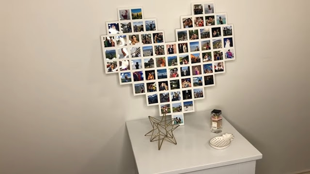 Photo Collages on blank bedroom wall