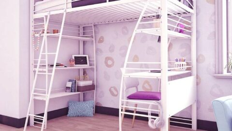 DHP Bunk Bed Over Desk and Bookcase Metal Frame