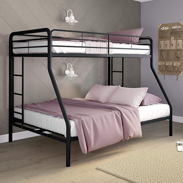 Space Saving DHP Twin Over Full Bunk Bed with Metal Frame and Ladder