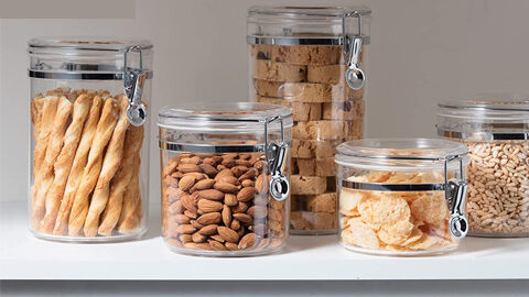 oggi 5pc clear canister set with clamp lids airtight containers